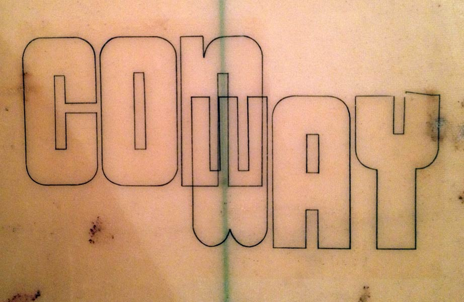 Conway Surfboards - Vintage Surfboard Graphics - Surf Exhibition Cornwall