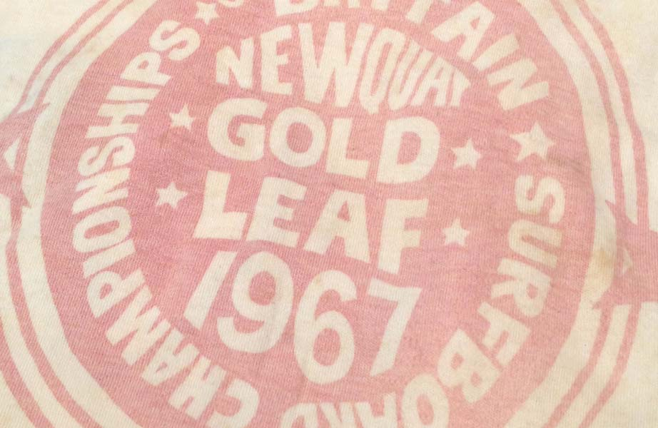 Newquay surfboard championships gold leaf 1967 - Vintage Surfboard Graphics - Surf Exhibition Cornwall