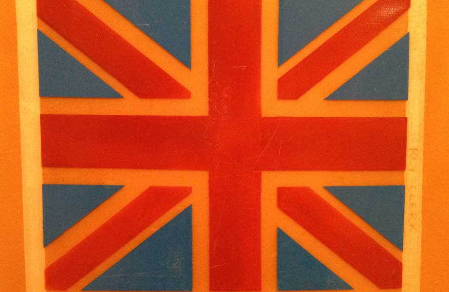 Union Jack Surfboard - Vintage Surfboard Graphics - Surf Exhibition Cornwall