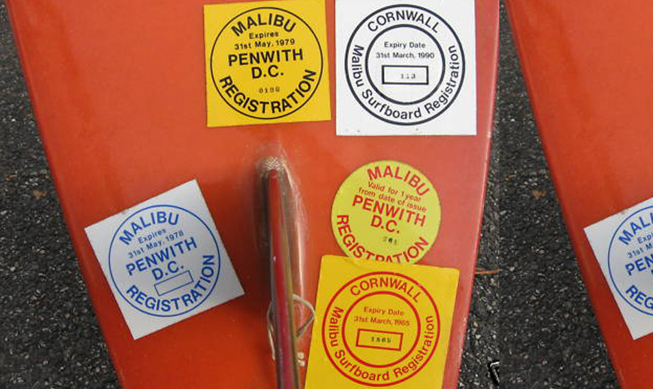Cornwall Malibu surfboard registration sticker