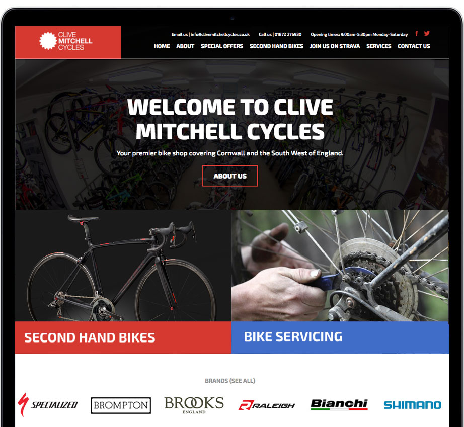 Clive Mitchell Cycles Website Design Cornwall