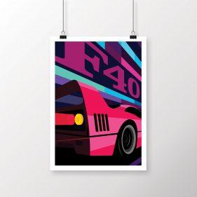Ferrari F40 art print / poster