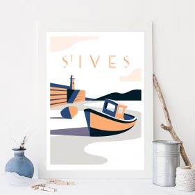 Cornwall Vintage Travel Poster Design
